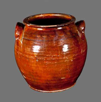 Very Rare North Carolina Redware Jar Incised