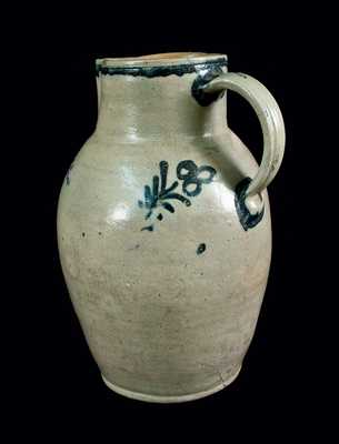 Rare Two-Gallon Baltimore Stoneware Pitcher with Folky Slip-Trailed Design, attrib. Parr & Burrland