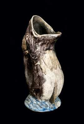 Rare Midwestern Salt-Glazed Stoneware Fish Pitcher