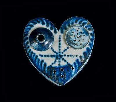 Heart-Shaped Stoneware Inkstand, probably Philadelphia or Baltimore