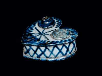 Outstanding and Exceptionally Rare Stoneware Heart-Shaped Inkstand