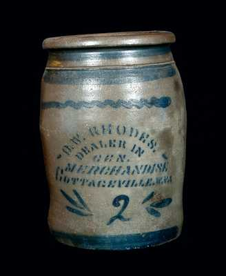 Cottageville, West Virginia Stoneware Advertising Jar