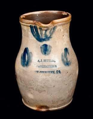 A,J, BUTTLER / MANUFACTERUR / NEW-BRUNSWICK, N.J. Stoneware Pitcher, Half-Gallon