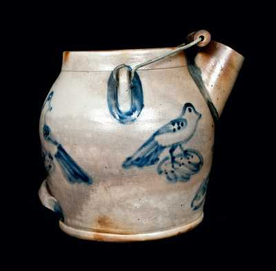 Exceptional Cowden & Wilcox Stoneware Batter Pail with Four Birds
