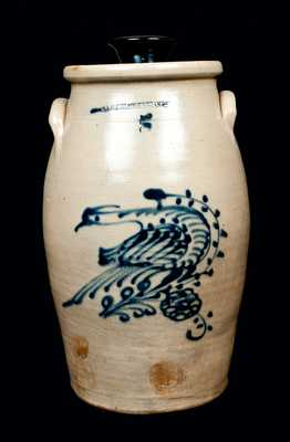 Scarce N. A. WHITE & CO. BINGHAMPTON, NY Stoneware Churn with Bird