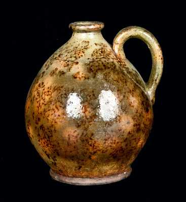 Ovoid Redware Jug, Green with Brown Sponging
