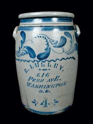 Rare E. LULLEY / WASHINGTON, DC Stoneware Advertising Crock