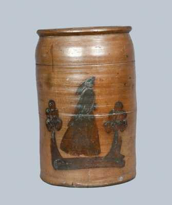 Rare Uniontown, PA Stoneware Crock with Woman Decoration