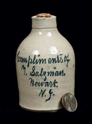 Rare Miniature Salesman's Sample Newark, NJ Stoneware Script Jug