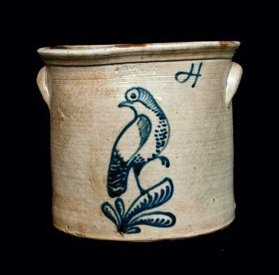 PENN YAN, NY Stoneware Crock with Elaborate Bird Decoration