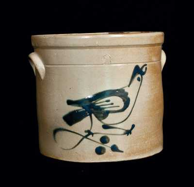 2 Gal. Fulper, Flemington, NJ, Stoneware Crock with Bird