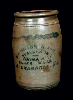 E. J. MILLER / ALEXANDRIA, VA Stoneware Advertising Crock