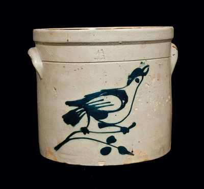 Rare Fulper Bros. Stoneware Bird Crock with Flemington, NJ Advertising on Bottom