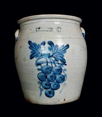 Exceptional COWDEN & WILCOX 6 Gal. Stoneware Crock with Grapes Decoration