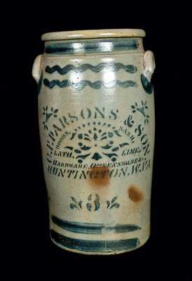 Western PA Stoneware Churn with Elaborate HUNTINGTON, WV Advertising
