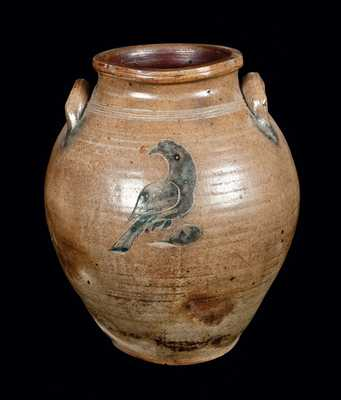 Rare Herbertsville, NJ Stoneware Crock with Incised Bird