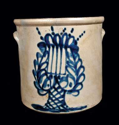 6 Gal. New York Stoneware Crock with Lyre Decoration