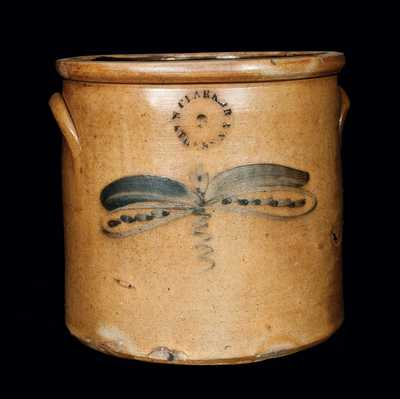 N. CLARK JR. / ATHENS, NY Stoneware Crock with Dragonfly
