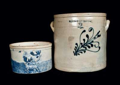 Lot of Two: W. ROBERTS BINGHAMPTON Stoneware Crock with Whites Utica Butter Crock
