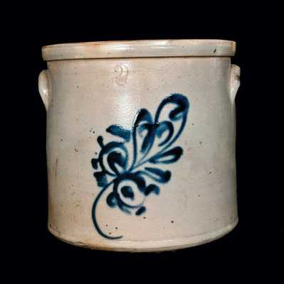 2 Gal. Stoneware Crock with Floral Decoration