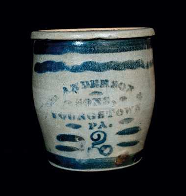 ANDERSON & SONS / YOUNGSTOWN, PA 2 Gal. Stoneware Crock