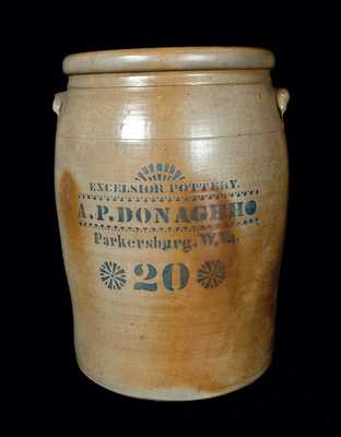 Monumental 20 Gal. A. P. DONAGHHO / PARKERSBURG, WV Stoneware Crock