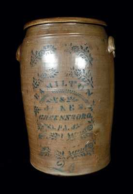 20 Gal. HAMILTON & JONES / GREENSBORO, PA Stoneware Crock
