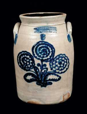 COWDEN & WILCOX Stoneware Crock with Elaborate Slip-Trailed Floral Decoration