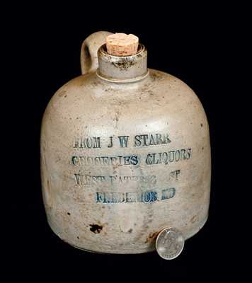 Very Rare Diminutive Stoneware Jug w/ Frederick, MD Advertising, attrib. Peter Herrmann, Baltimore