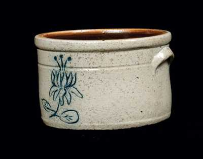 Rare Miniature Stoneware Cake Crock with Scratchware Decoration, NY or NJ