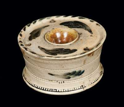 Cobalt-Decorated Stoneware Inkwell, attributed to Nathan Clark, Athens, NY