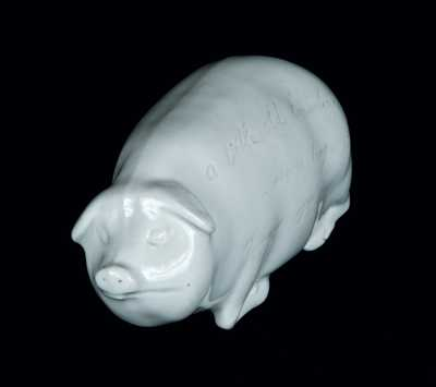 Extremely Rare New Jersey Ironstone Pig Flask in the Manner of Anna Pottery