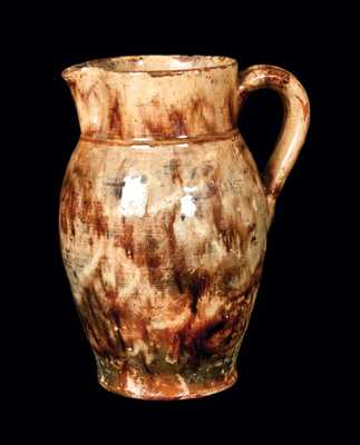 Rare Glazed Redware Pitcher, Stamped