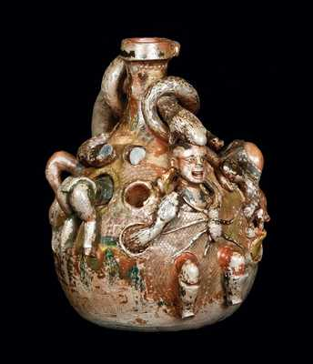 Rare and Important Anna Pottery Temperance Snake Jug w/ Applied Figural Decoration