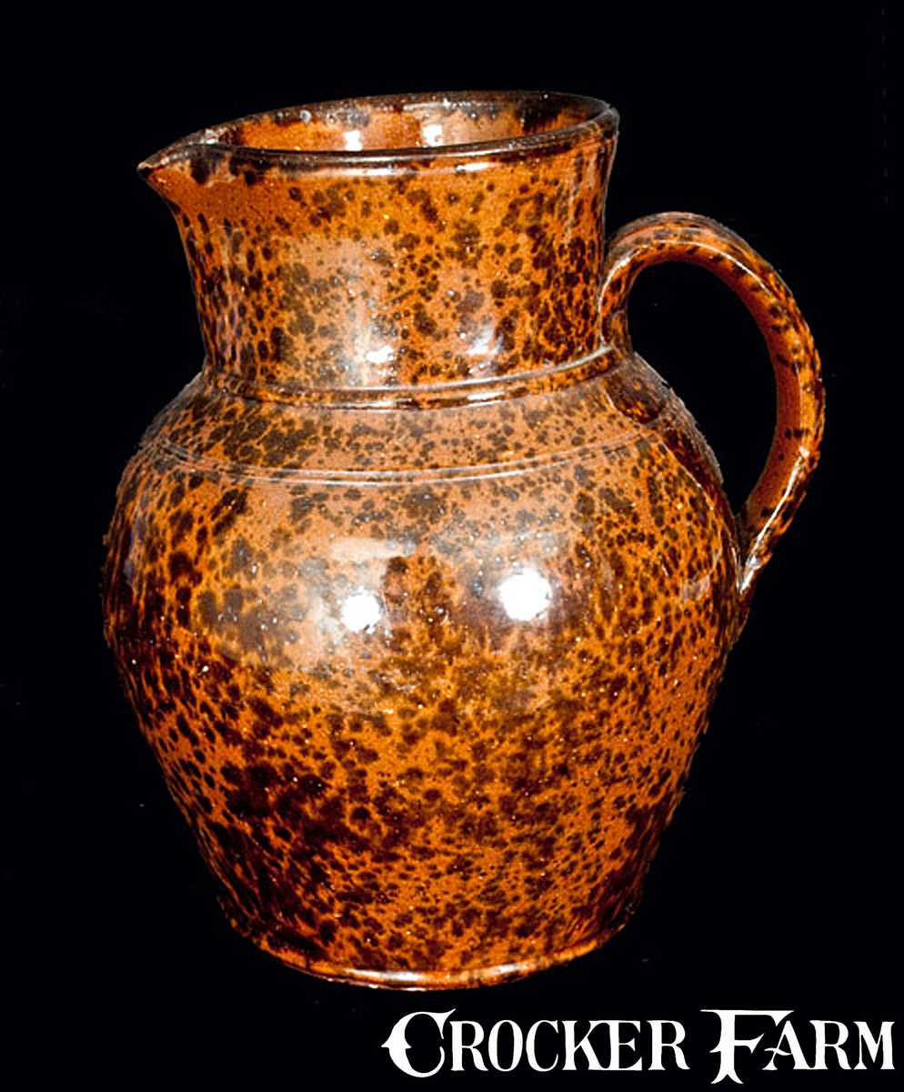 Pennsylvania Redware Pitcher With Speckled Manganese