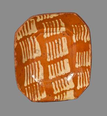 Early Small-Sized Slip-Decorated Redware Loaf Dish, probably Philadelphia