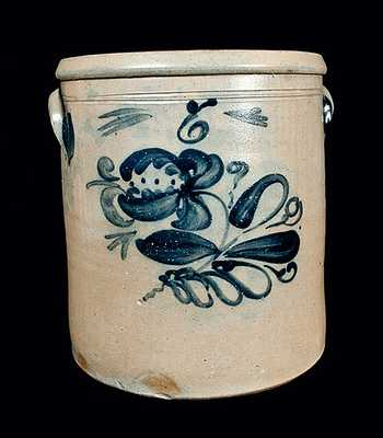 6 Gal. Midwestern Stoneware Crock with Floral Decoration