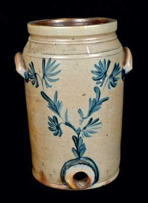 Decorated Stoneware Water Cooler, Remmey, Philadelphia, PA, c1865