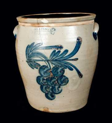 6 Gal. Cowden & Wilcox Stoneware Crock with Grapes Decoration