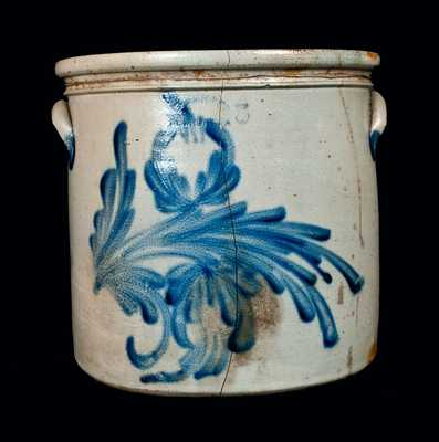 M. & T. MILLER / NEWPORT, PA Stoneware Crock with Profuse Floral Decoration