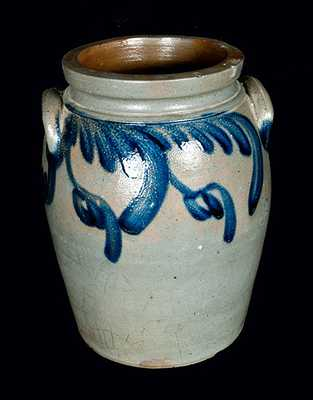 Ovoid Baltimore Stoneware Jar with Hanging Floral Decoration, c1830