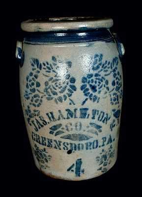 JAS. HAMILTON & CO. / GREENSBORO, PA Stoneware Jar w/ Stencilled Floral Decoration