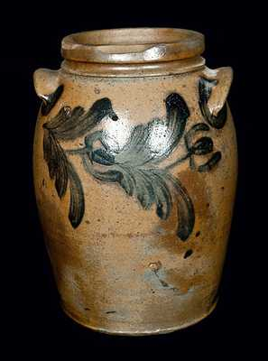 Ovoid Baltimore Stoneware Crock with Horizontal Floral Decoration, c1840