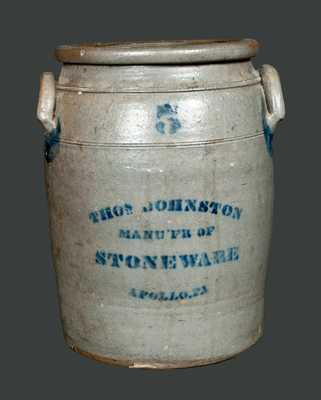 5 Gal. THOS. JOHNSTON / APOLLO, PA Stoneware Crock