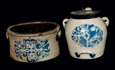 Lot of Two: F. H. COWDEN / HARRISBURG, PA Stoneware Butter Crock and Batter Pail