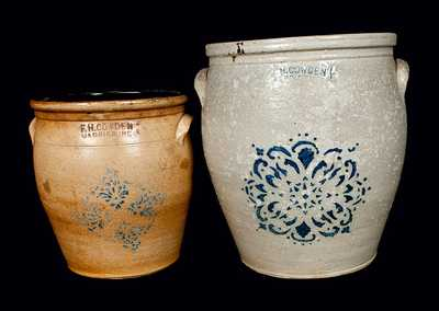 Lot of Two: F. H. COWDEN / HARRISBURG, PA Stoneware Crocks