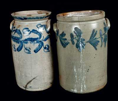 Lot of Two: Baltimore, MD Stoneware Churn and Chester County, PA Stoneware Crock