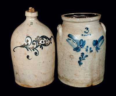 Lot of Two: Newark, NJ, Stoneware Crock with Two-Gallon Jug