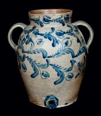 Rare Two-Gallon Open-Handled Baltimore Stoneware Water Cooler with Profuse Decoration