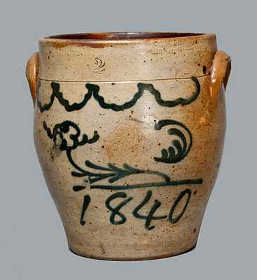 Cobalt-Decorated Stoneware Jar, Dated 1840, attrib. Smith & Day, Norwalk, CT.